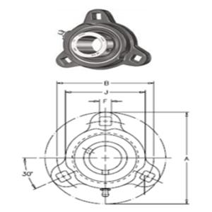 """LF-SC-100 124605 DODGE CHUMACERA DE PARED 3 TORNILLOS FLECHA 1"""""""